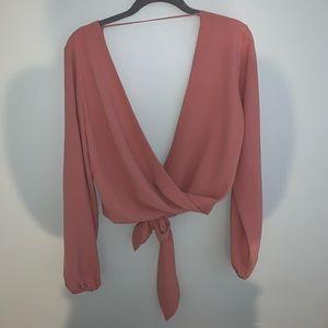 TigerMist wrap front blouse